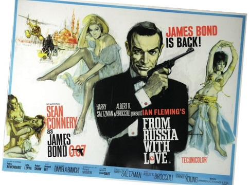 Vintage film poster of James Bond From Russia with Love