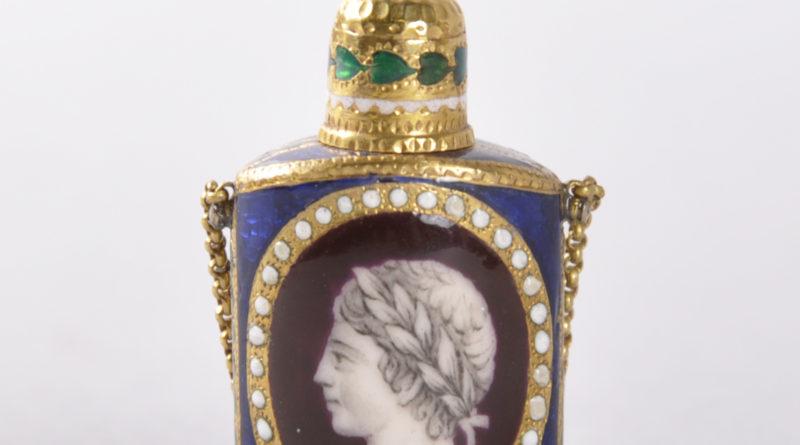 Louis XVI period gold and enamel oval perfume bottle