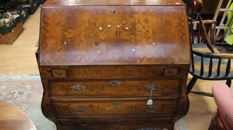 18th Century Dutch walnut and floral marquetry bureau