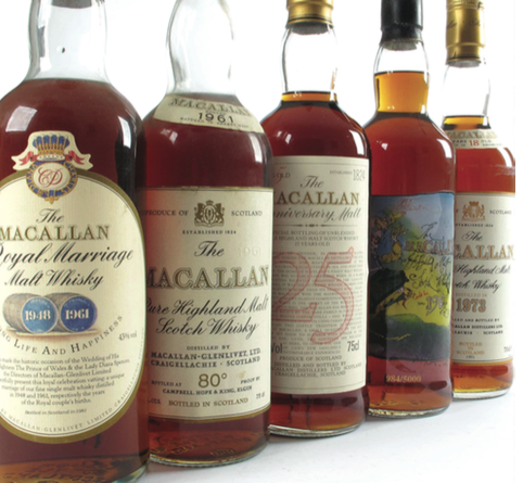 Collection of Macallam whisky bottles
