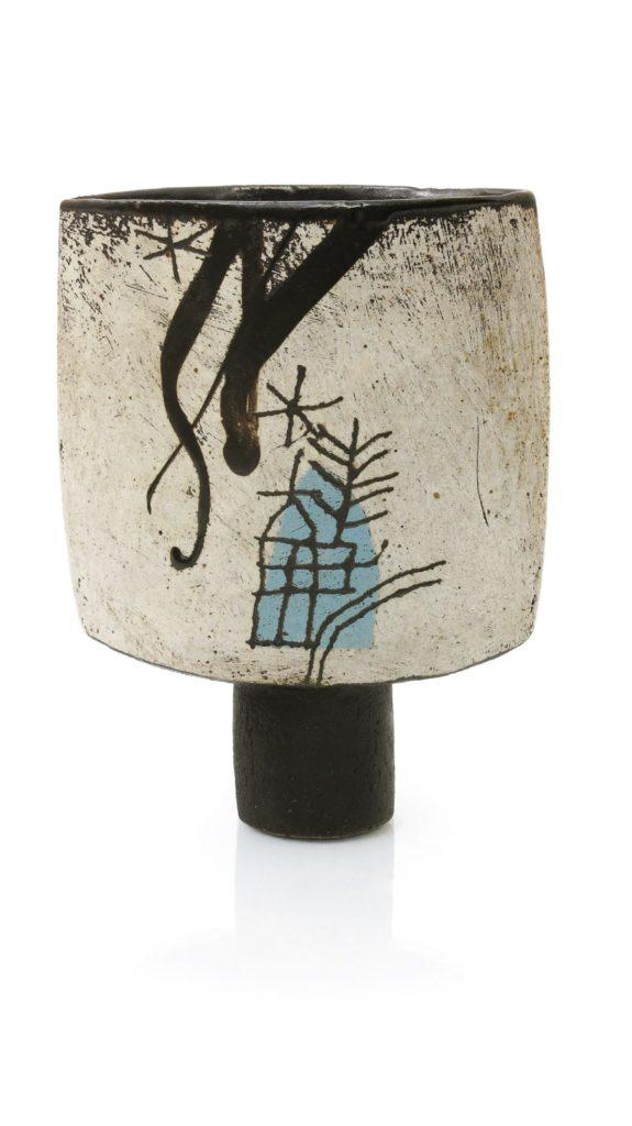 A tall spade vase studio pottery by potter John Maltby