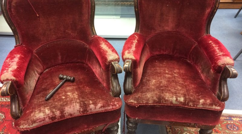Harry Potter memorabilia - a pair of chairs from the Harry Potter films