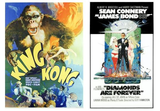 Vintage King Kong and James Bond film posters