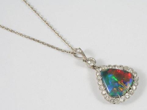 Australian black opal and diamond pendant2