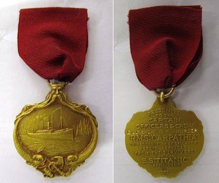 A Titanic gold medal awarded to a crewman on the Carpathia