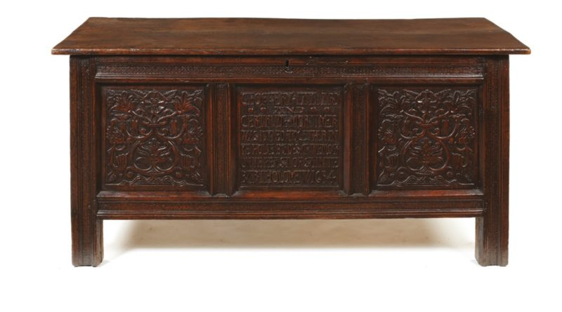 Charles I period oakmarriage chest