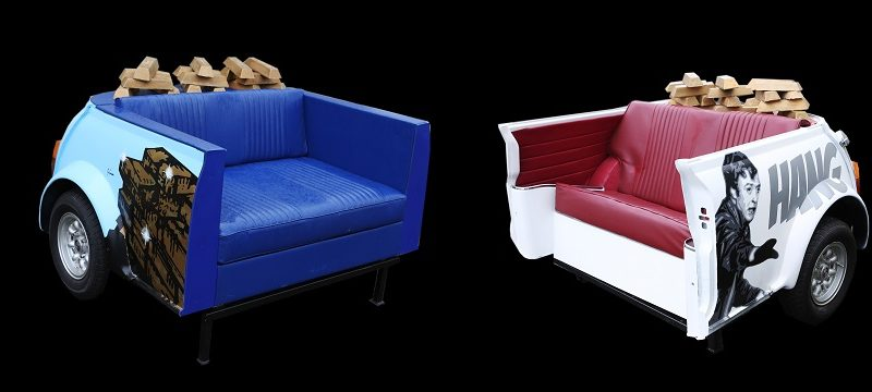 Chairs made from vintage Mini cars