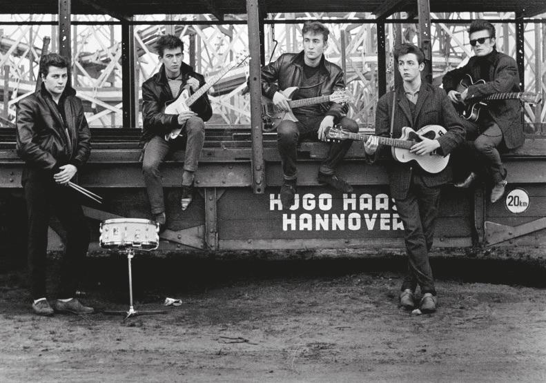 The Beatles at a Hamburg funfair