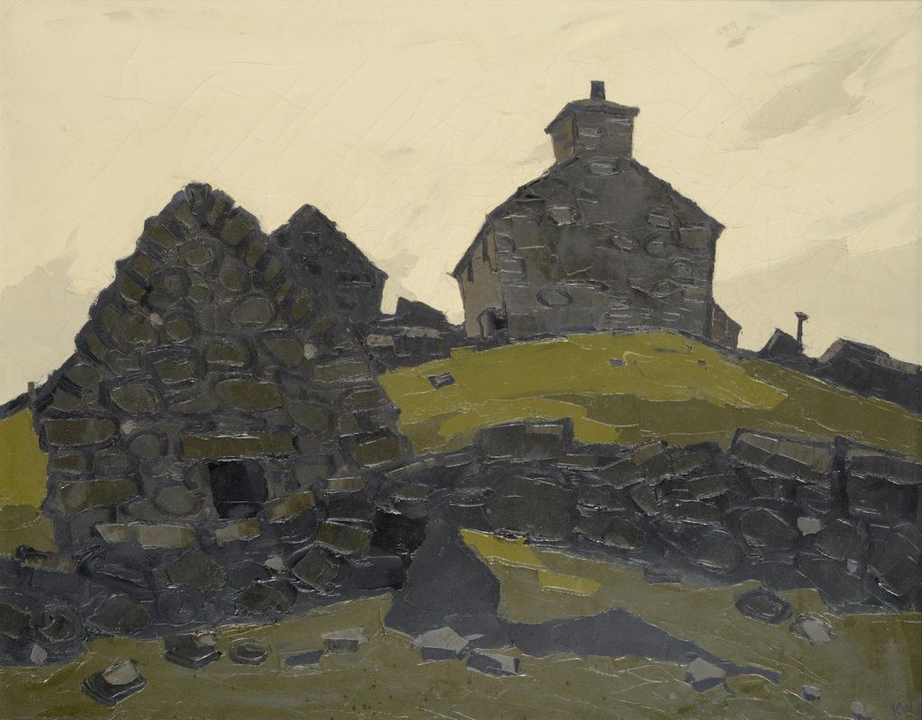 Sir Kyffin Williams watercolour of Llanrhwydrys
