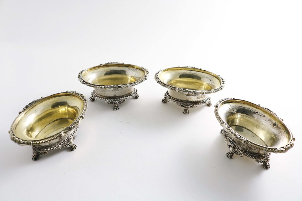 A set of silver salts by Paul Storr