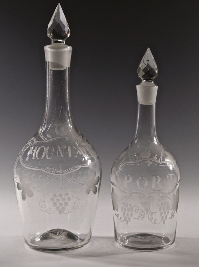 Shouldered antique glass decanters