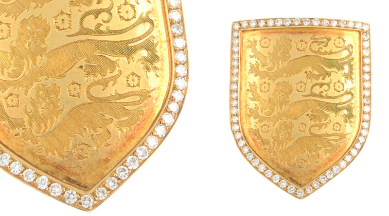 Shield brooch presented to Sir Frederick 'Bert' Millichip