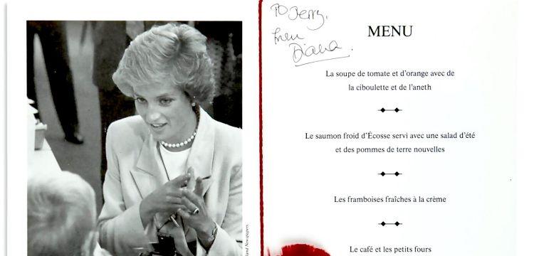 Menu signed by Princess Diana