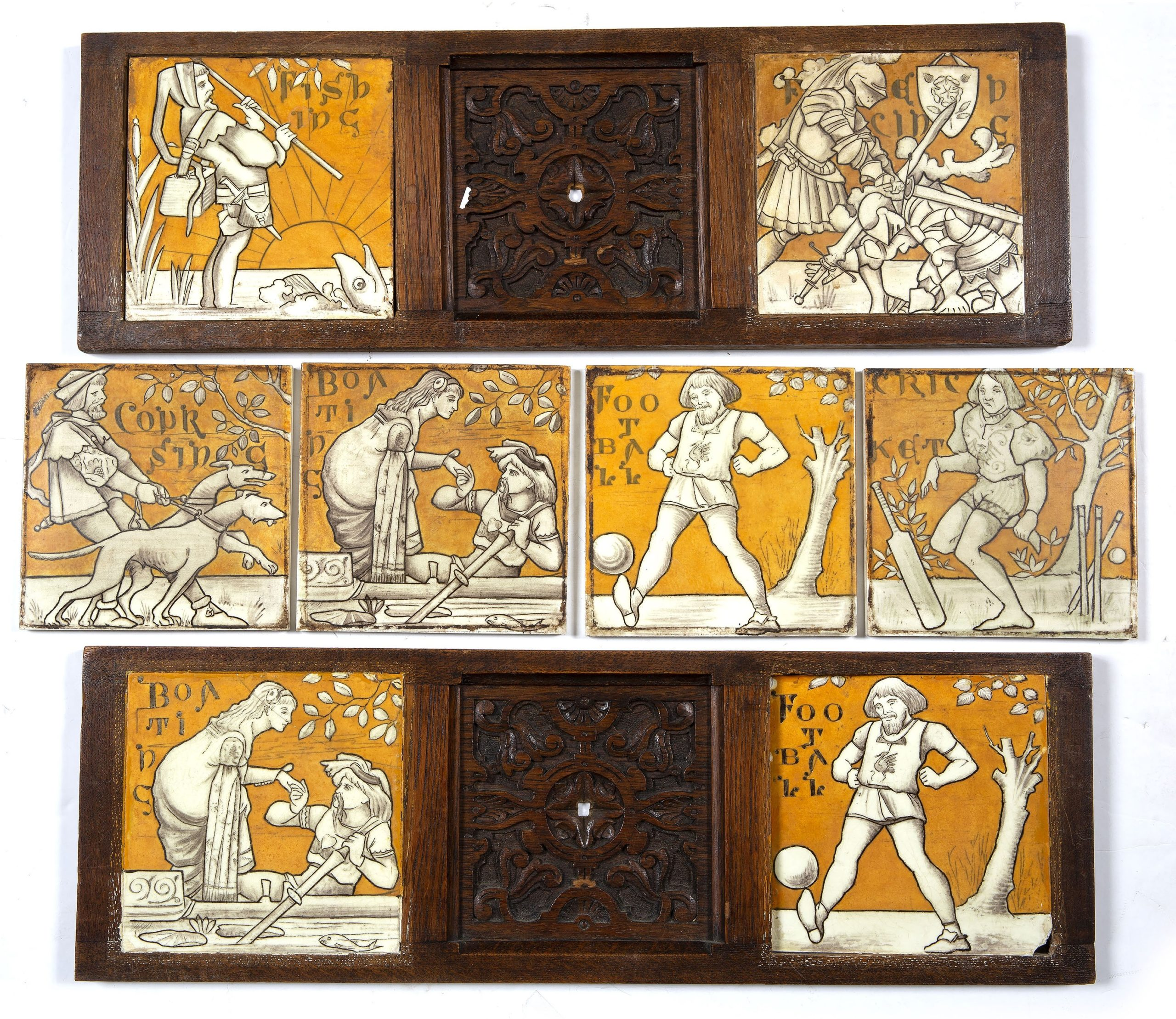 Old English Sports and Games tiles by Minton's Art Pottery Studio