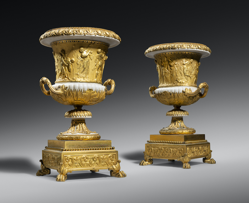 Louis XVI ormolu and marble models of the Borghese vase