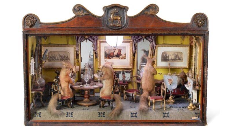 Antique squirrel diorama