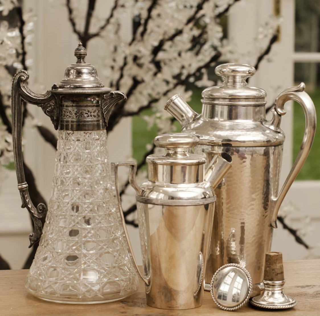 Set of antique silver pots