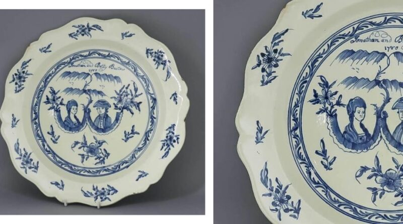 18th-century charger depicting married couple
