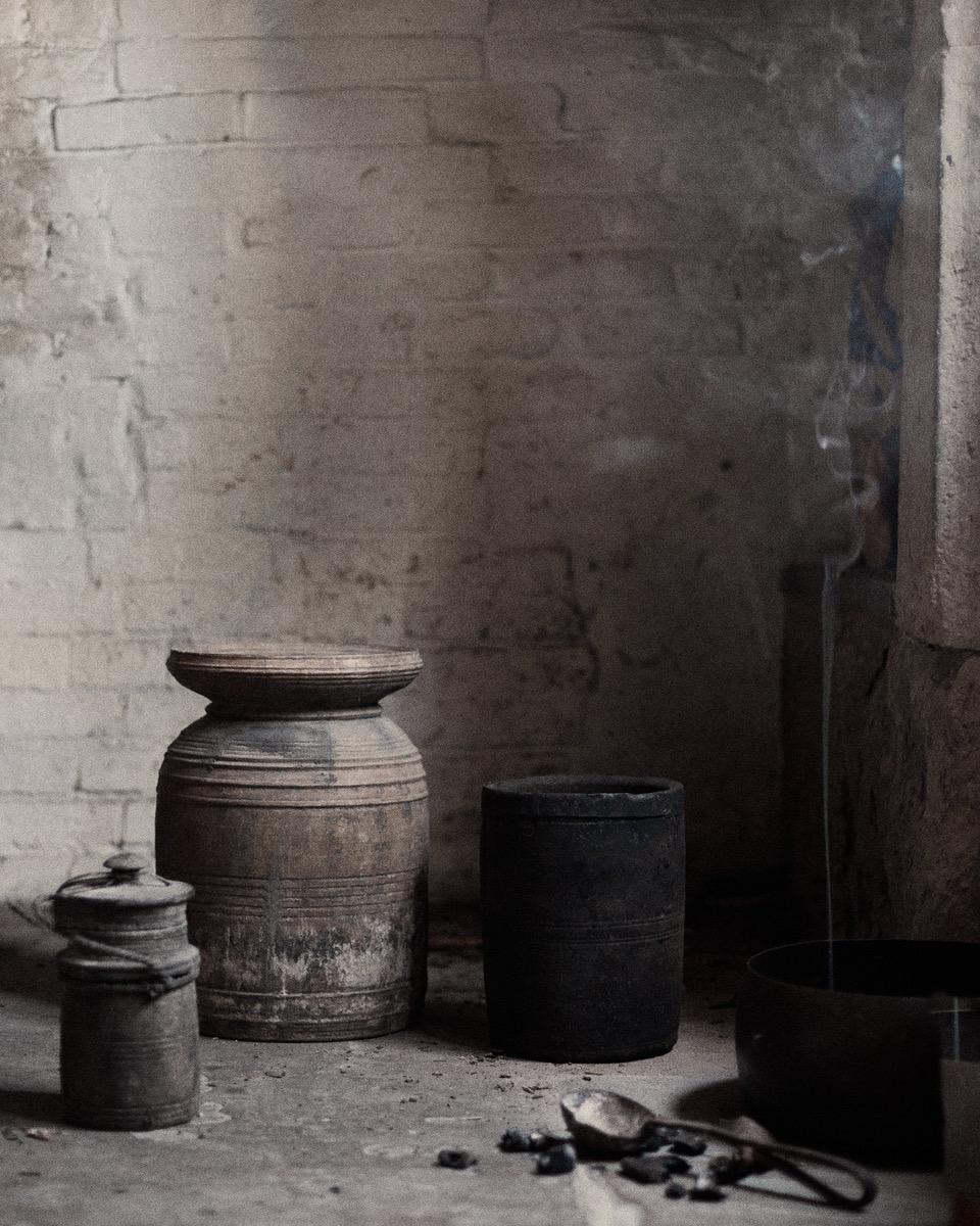 Antique Tibetan curd pots
