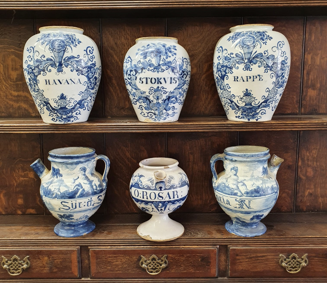 Collection of Delft tobacco jars and Italian dry drug jars