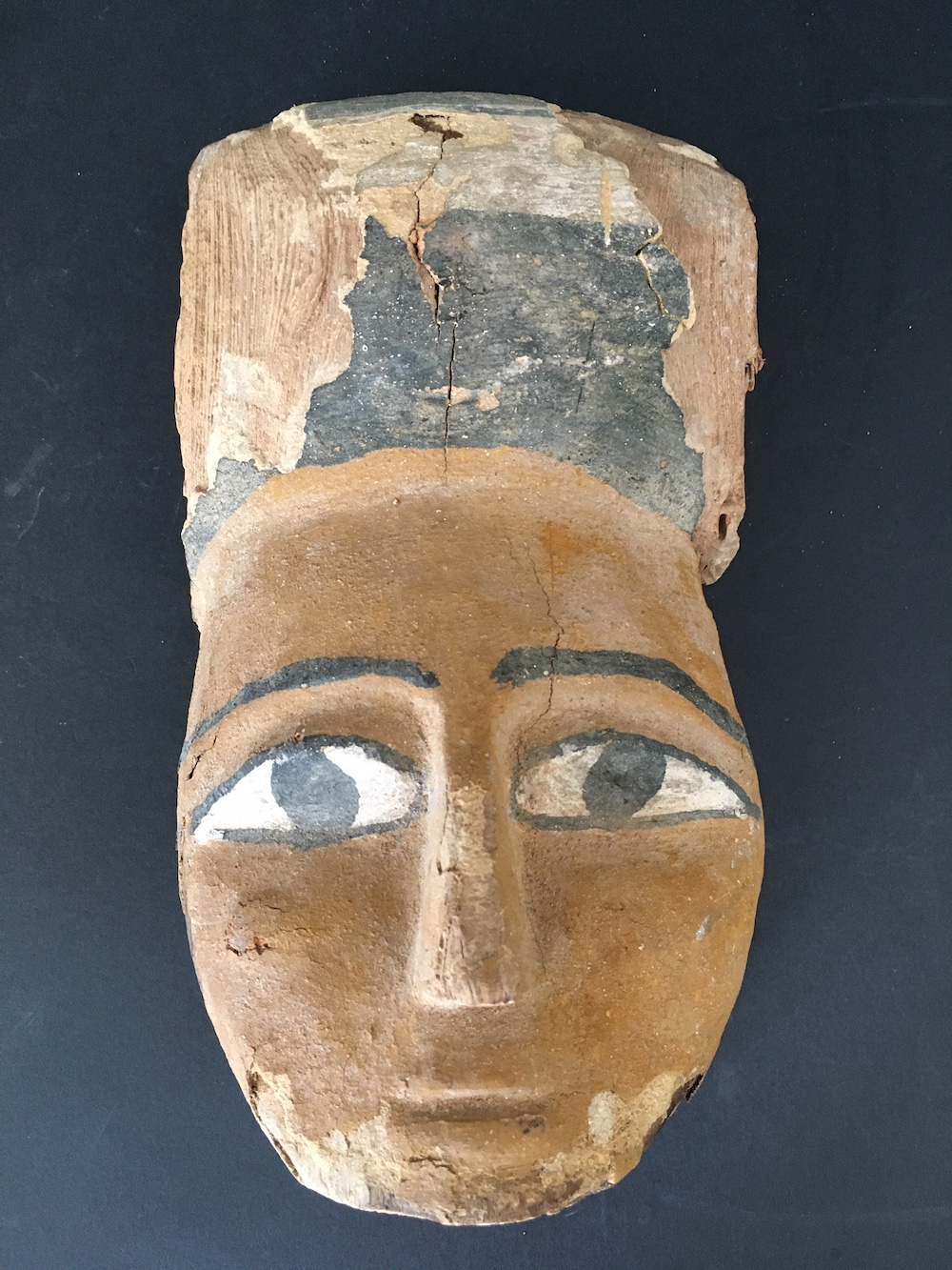 Egyptian polychrome painted wood sarcophagus mask