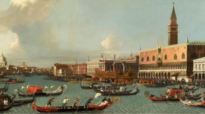 Oil painting by a Follower of Canaletto