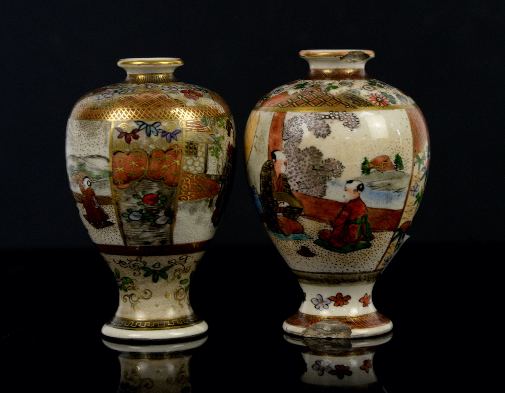 A pair of Satsuma vases from the Meiji period