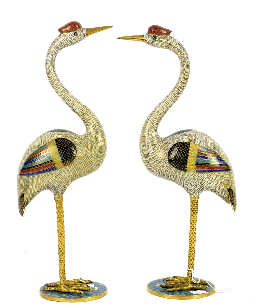 pair of Qing Dynasty period Chinese cloisonné enamel cranes