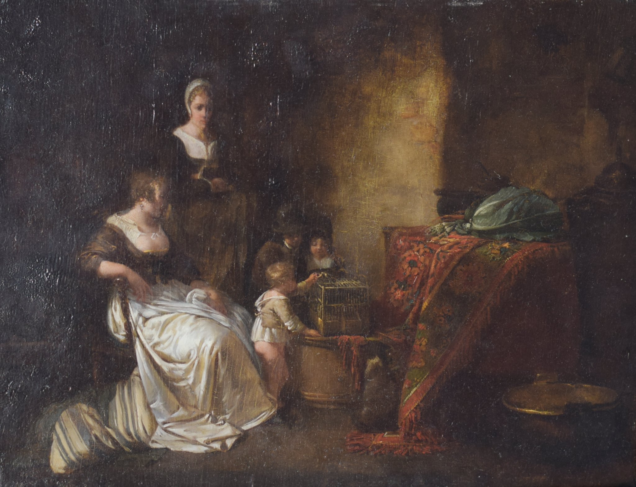 Old painting of domestic scene