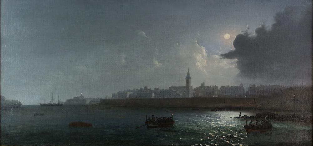 Valetta harbour by night, by Girolamo Gianni
