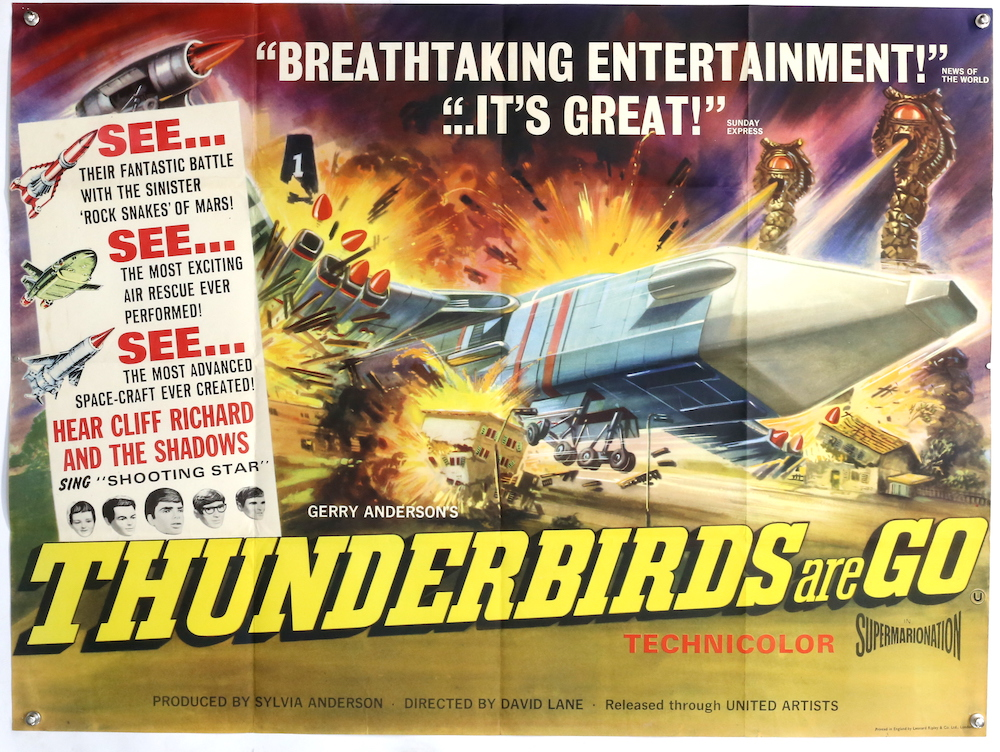 A poster from 1966 film Thunderbirds Are Go, created by Gerry Anderson, United Artists