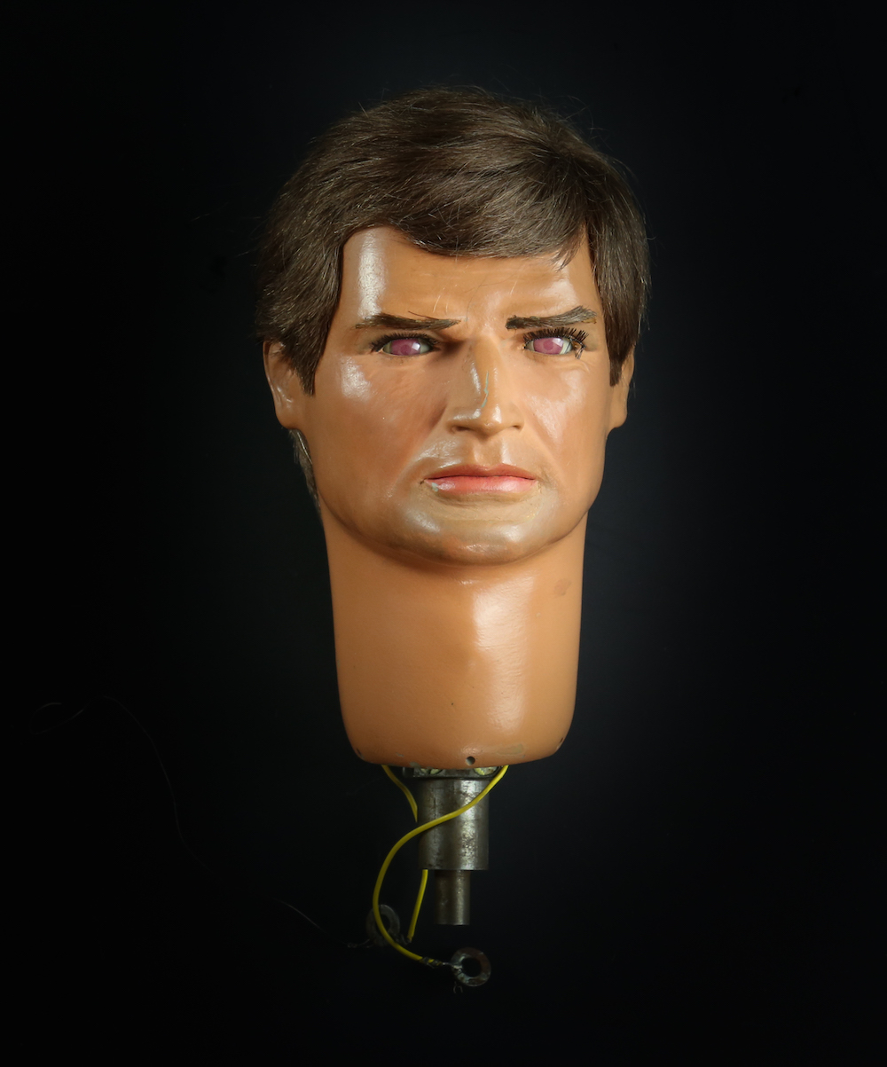 Captain Ochre puppet head used on screen in the classic 1967 series Captain Scarlet and the Mysterons.
