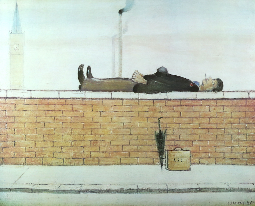 L.S. Lowry painting entitled 'Man Lying On A Wall'