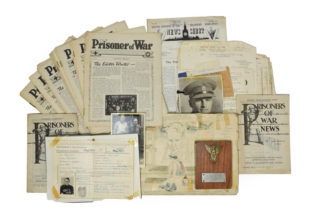 A collection of prisoner of war ephemera