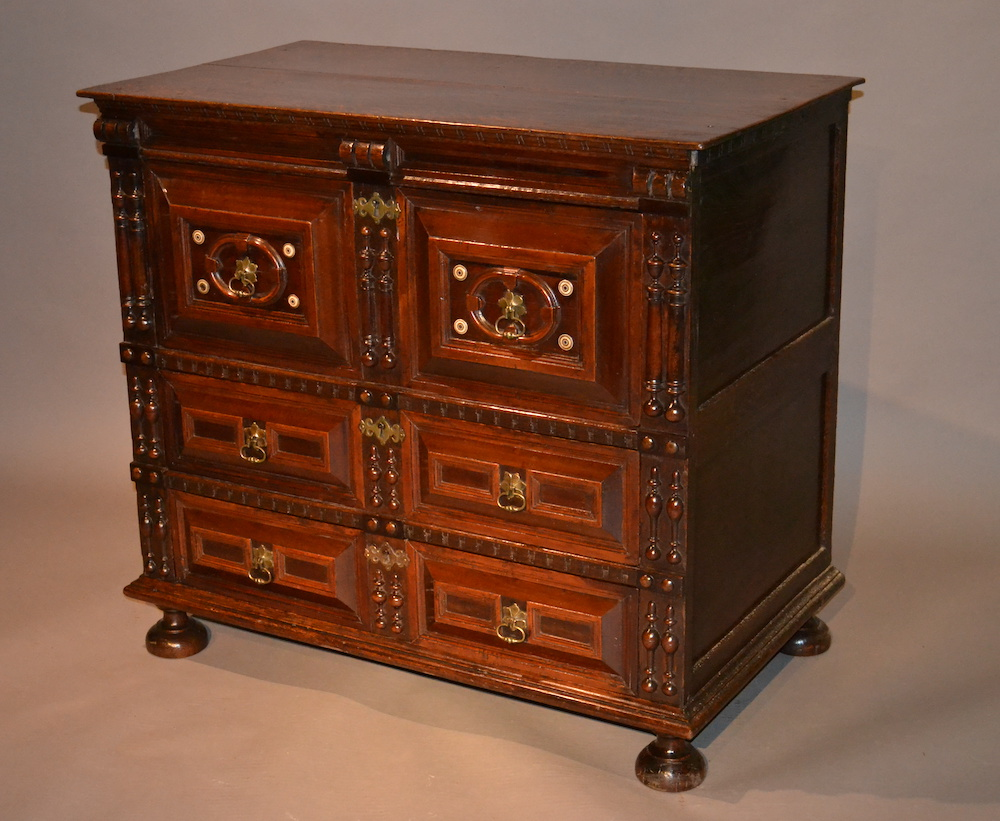 Charles II fruitwood and oak chest of drawers