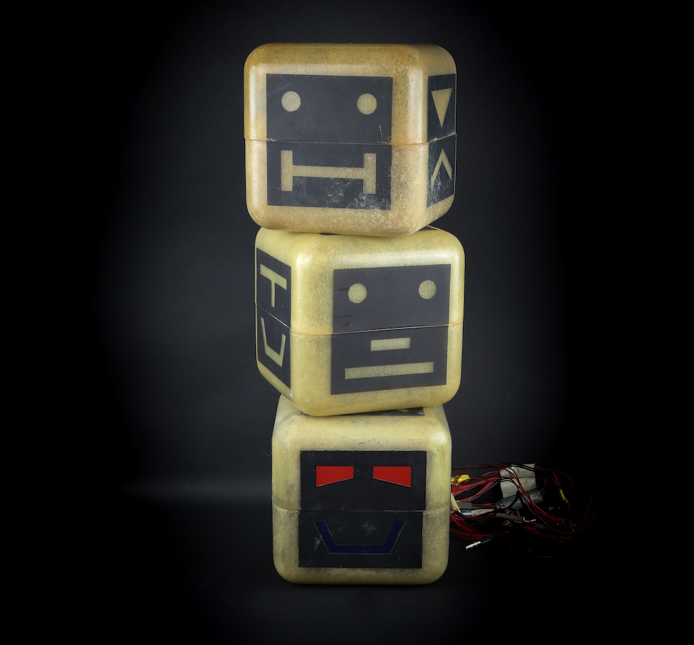 Three of Zelda's Cubes used in the production of Terrahawks, each approximately 20 x 20cm