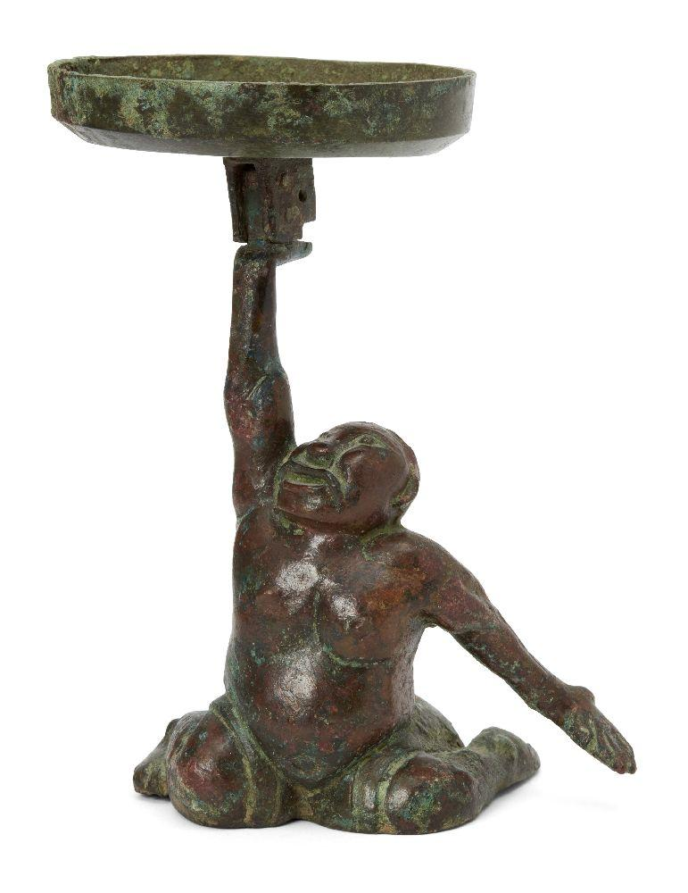 A Chinese bronze figural candleholder, Western Han dynasty