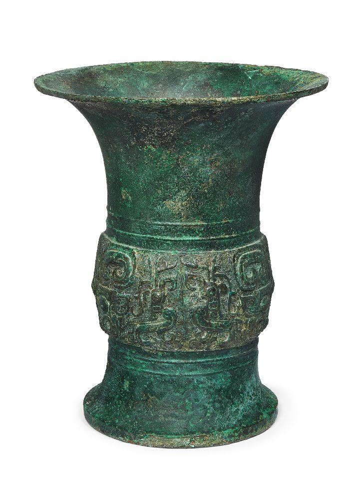 A rare Chinese archaic ritual bronze wine vessel, Zun, Fu Yi mark, early Western Zhou dynasty