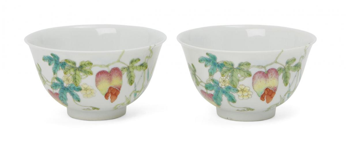 A pair of Chinese porcelain 'bitter melon' bowls, Jiaqing mark and of the period