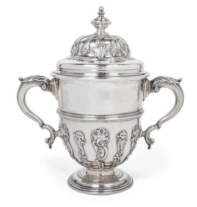 18th century silver twin-handled cup
