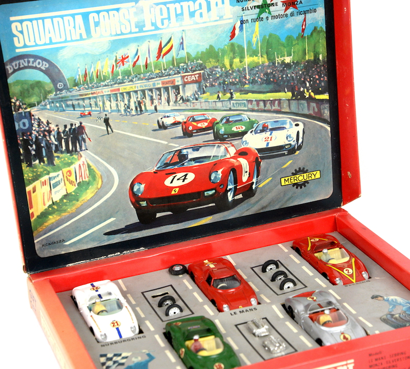 A Ferrari Racing Team gift set of five die-cast model Ferraris in a fitted box sold for £715