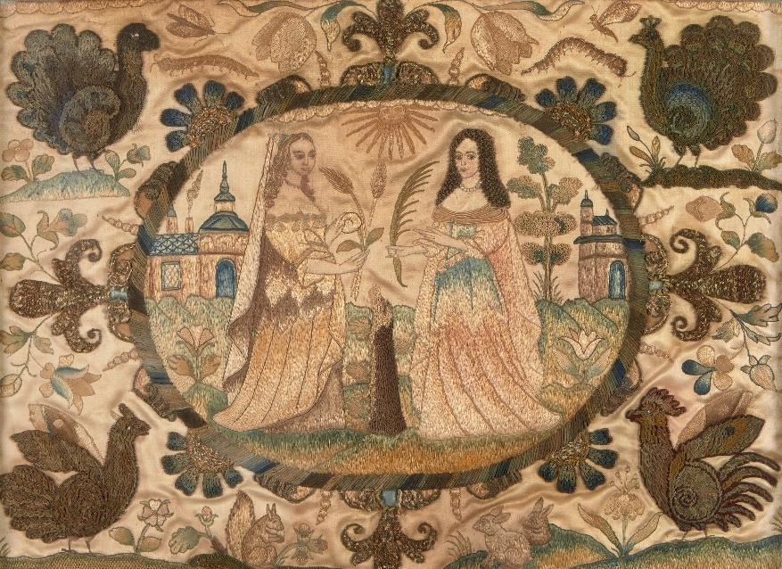 Charles II stumpwork silk picture