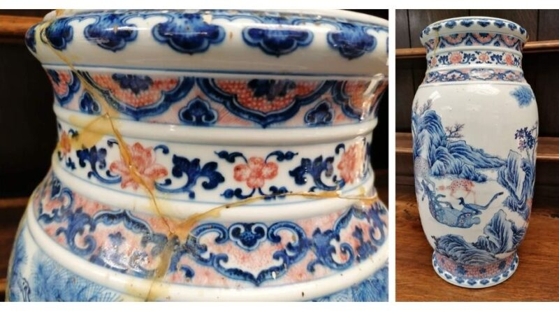Cracked Chinese vase in Hansons sale