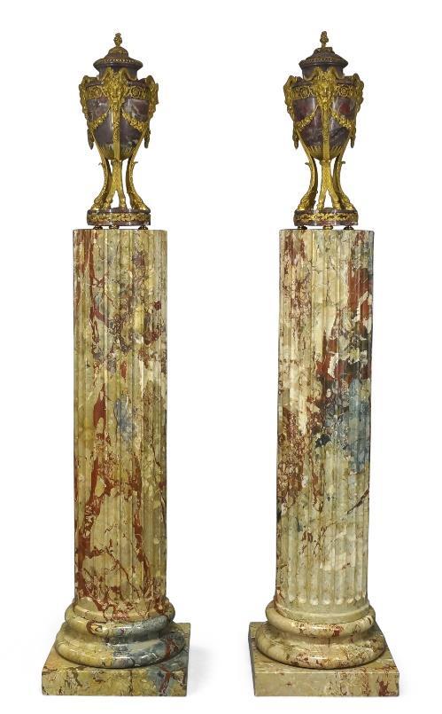 Louis XVI gilt bronze urns