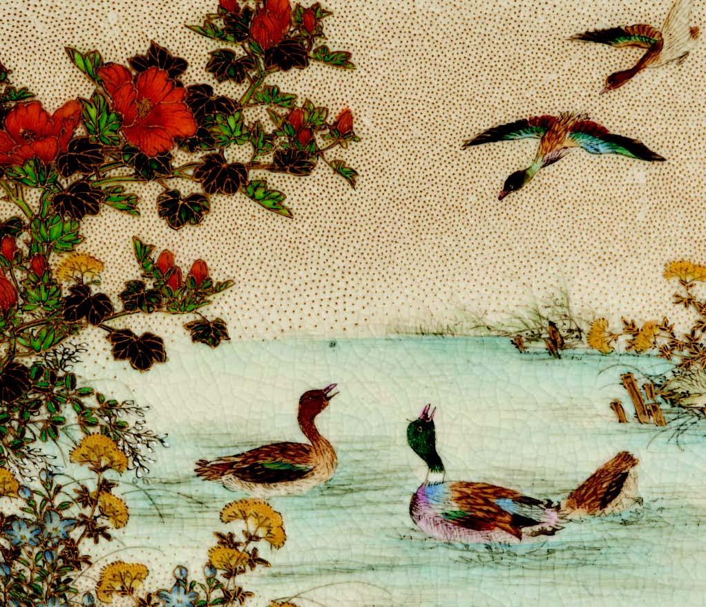 Fine painting onan exceptional pair ofminiature koros signedKinkozan