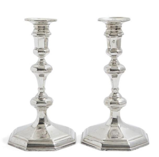 Queen Anne Britannia silver candlesticks