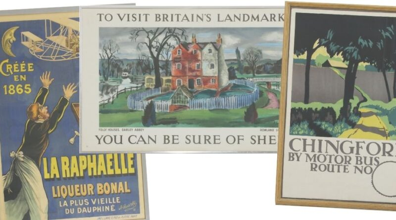Selection of vintage travel posters in Sworders sale