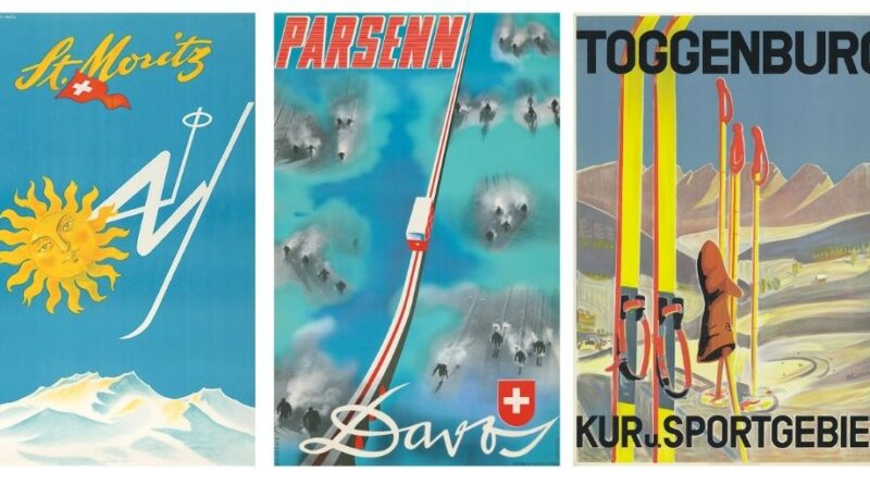 Vintage ski posters in Lyon and Turnbull sale