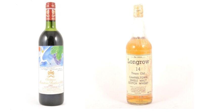 Bottles of vintage wine