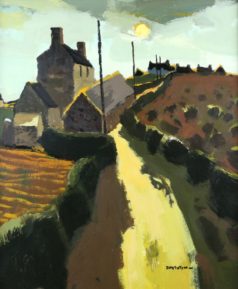 A signed oil-on-board, entitled Road Over The Hill, by Donald McIntyre